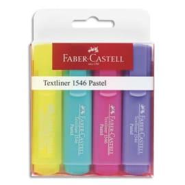 FABER CASTELL Pochette de 4 Surligneurs Textliner 1546, pointe feutre biseautée. Coloris pastel assortis. photo du produit