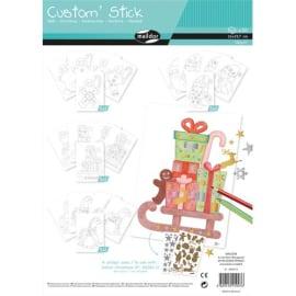 MAILDOR Sachet de 20 feuilles A4 Custom stick à colorier et décorer avec gommettes thème Noël assorties photo du produit