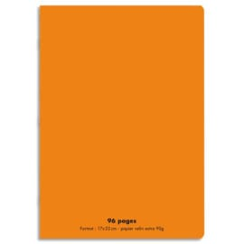 CONQUERANT C9 Cahier piqûre 17x22cm 96 pages 90g grands carreaux Séyès. Couverture polypropylène Orange photo du produit