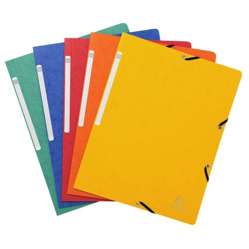 EXACOMPTA Chemise simple à élastique. Carte lustrée 5/10e. Coloris assortis Rouge/vert/Jaune/Bleu/Orange photo du produit Principale L
