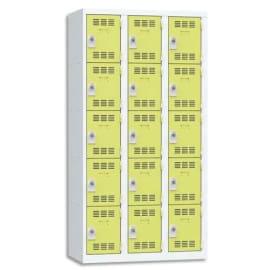 PIERRE HENRY Vestiaire 5 Cases + 3 Colonnes - Dimensions : L90 x H180 x P50 cm Gris perle anis photo du produit