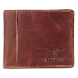 MAVERICK Porte-monnaie compact RFID, 1 poche fenêtre, 8 compartiments, poche monnaie, 11 x 9 cm Marron photo du produit