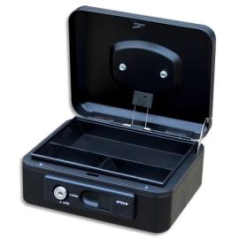 PAVO Caisse à monnaire 20cm/3compartim, ouverture auto bouton poussoir+serrure cylindrique Noire 8007516 photo du produit