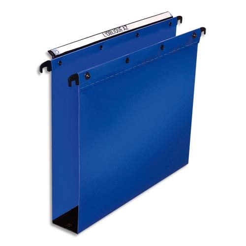 OBLIQUE AZ Paquet de 10 dossiers suspendus TIROIR en polypro opaque 5/10e. Fond 80, bouton-pression. Bleu photo du produit Principale L