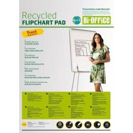 BI-OFFICE Lot de 5 Blocs papier Earth de 50 feuilles unies Blanches recyclés, 55g - Format : L65 x H98 cm photo du produit