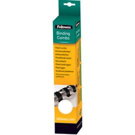 FELLOWES Boîtes de 25 peignes anneaux plastique 12 mm Blanc 53312 photo du produit