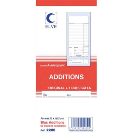 ELVE Bloc addition 50 feuillets 102x235 mm 50/2 autocopiant photo du produit
