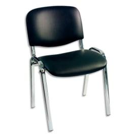 Chaise visiteur en vinyle Noir, piètement métal chromé avec patins de protection. Empilable photo du produit