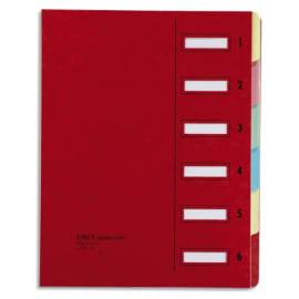 EMEY Trieur EMEY JUNIOR en carte avec système clip, 6 compartiments. Coloris Rouge. photo du produit