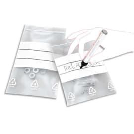 Boîte de 1000 sacs fermeture rapide polyéthylène 50 µm bandes Blanches 8 x 12 cm transparent photo du produit