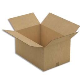 Paquet de 10 caisses américaines double cannelure en kraft brun - Dimensions : 60 x 30 x 40 cm photo du produit