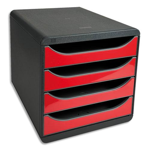 EXACOMPTA Module de classement 100% DECO 4 tiroirs Noir/Rouge carmin - Dim. : L 27,8 x H 26,7 x P 34,7 cm photo du produit Principale L
