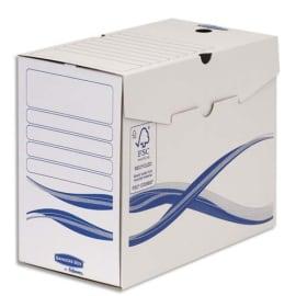 BANKERS BOX Lot 10 boîtes archives dos 15cm BASIQUE, montage manuel, carton recyclé. Sous film. photo du produit