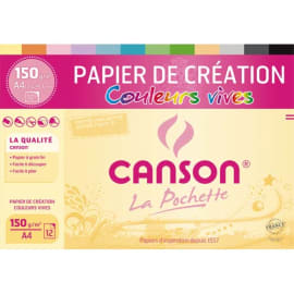 CANSON Pochette 12 feuilles papier couleur CREATION 150g 21x29,7cm. Assortiment de couleurs vives photo du produit