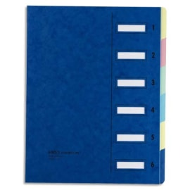 EMEY Trieur EMEY JUNIOR en carte avec système clip, 6 compartiments. Coloris Bleu. photo du produit