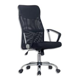 Fauteuil de direction ARGOS dossier mesh assise cuir Noir, à mécanisme basculant centré, piètement chromé photo du produit