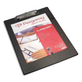 PERGAMY Plaque porte bloc PVC avec pince métal, dimensions : L 23,5 x H 34 cm, Coloris Noir photo du produit