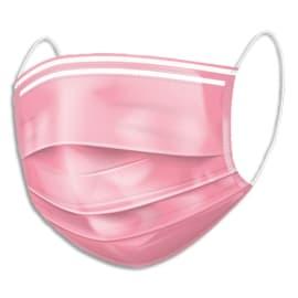 Boîte de 50 masques chirurgicaux jetables 3 plis type IIR. Fabriqué en France. Coloris rose photo du produit