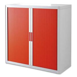 PAPERFLOW EasyOffice armoire démontable corps en PS teinté Blanc rideau Rouge - Dim L110x H104x P41,5 cm photo du produit