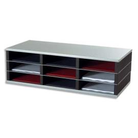 PAPERFLOW Trieur 9 cases A4 élément départ R3 - Dimensions : L75 x H23,2 x P32,8 cm coloris Noir/alu photo du produit