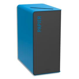 ROSSIGNOL Borne de tri Cubatri 65 Litres sans serrure en acier poudré Gris Bleu ciel L38 x H76 x P62 cm photo du produit