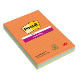 POST-IT Lot de 3 blocs Notes Super Sticky POST-IT® Orange/Bleu/Vert lignées 45 feuilles 101 x 152 mm photo du produit