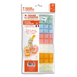 GRAINE CREATIVE 6 plaques de cire à modeler 240g, couleur pastel Ivoire, Orange, Blanc, Rose, Bleu, Vert photo du produit