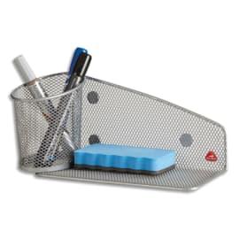 ALBA Support aimanté avec pot à crayons et porte éponge en métal Mesh - coloris Gris métal photo du produit