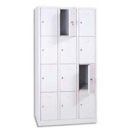 MT INTERNATIONAL Vestiaire 4 Cases 3 Colonnes en acier Blanc, L90 x H180 x P50 cm, case L22 x H40 x P47,5 photo du produit