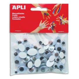 APLI Sachet de 100 yeux adhésifs ovales Noir sans cil diamètres assortis photo du produit