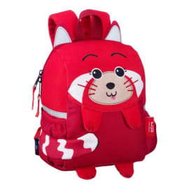 BODYPACK Panda Roux Sac goûter maternelle 1 C zippé, queue détachable, 22x28x10cm, bandes réfléchissantes photo du produit