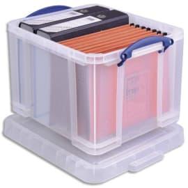 REALY USEFUL BOX Boîte de rangement 35L + couvercle, Dimensions L48 x H31 x P39 cm coloris transparent photo du produit