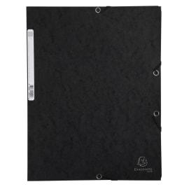 EXACOMPTA Chemise 3 rabats/ élastique, carte lustrée 5/10e, 400gr. Format 24x32cm. Coloris Noir. photo du produit