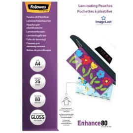 FELLOWES Boîtes de 25 pochettes de plastification format A4 80 microns 53962 photo du produit