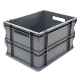 VISO Bac de rangement Gris en polypropylène, gerbable, charge 20 kg - Dimensions : L40 x l30 x H23 cm photo du produit
