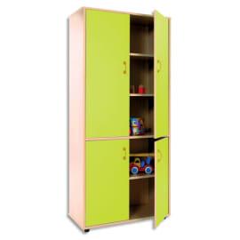 MOBEDUC Armoire haute L80 x H180 X P40 cm, 3 tablettes, 4 portes poignée couleur Vert pomme photo du produit