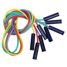 FIRST LOISIRS Lot de 4 cordes à sauter en plastique avec poignées, coloris assortis, longueur 225 cm photo du produit