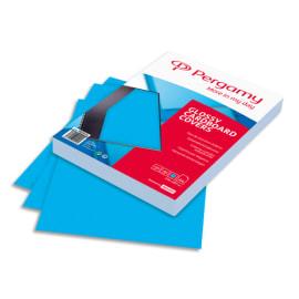 PERGAMY Boîte de 100 plats de couverture brillants A4 250gr Bleu Clair 900034 photo du produit