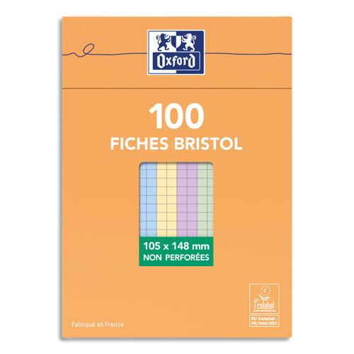 OXFORD Boîte distributrice 100 fiches bristol non perforées 105x148mm (A6) 5x5 assorti photo du produit Principale L