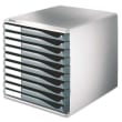 LEITZ Bloc de classement 10 tiroirs - Structure Grise/Tiroirs Gris - L28,7 x H29 x P35,5cm photo du produit