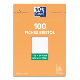 OXFORD Boîte distributrice 100 fiches bristol non perforées 105x148mm uni Blanc photo du produit