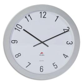 ALBA Horloge murale géante Horgiant contour ABS D60 cm Gris, chiffres Noirs lentille en verre à quartz photo du produit