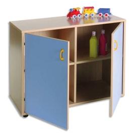 MOBEDUC Meuble bas L90 x H76,5 X P40 cm, 4 compartiments, 2 portes poignée, couleur Bleu lavande photo du produit