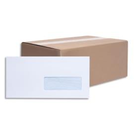 BONG Boîte de 500 enveloppes blanches auto-adhésives 80g format 110X220mm DL fenêtre 35x100mm photo du produit