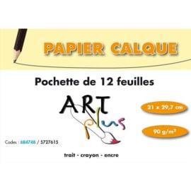 ART PLUS Pochette de 12 feuilles papier calque 90g format A4 photo du produit