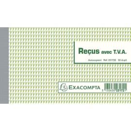 EXACOMPTA Manifold Reçus avec T.V.A 10,5x18cm - 50 feuillets dupli autocopiants photo du produit