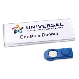 AVERY Boite de 10 badges Profil® aimanté 75 x 30 mm, transparent + 60 inserts imprimables 27 x 75 mm photo du produit