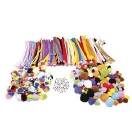 SODERTEX Pack 300 pompons + 200 pompons tricolores + 300 chenilles + 100 yeux mobiles, tailles assorties photo du produit
