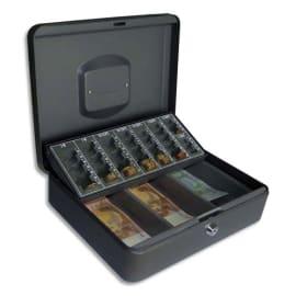 PAVO Caisse à monnaie+billet Europa acier,livrée avec 2 clés-L30xH9xP23 cm Gris foncé, 1poignée couvercle photo du produit