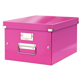 LEITZ Boîte CLICK&STORE M-Box. Format A4 - Dimensions : L281xH200xP369mm. Coloris Rose Wow. photo du produit